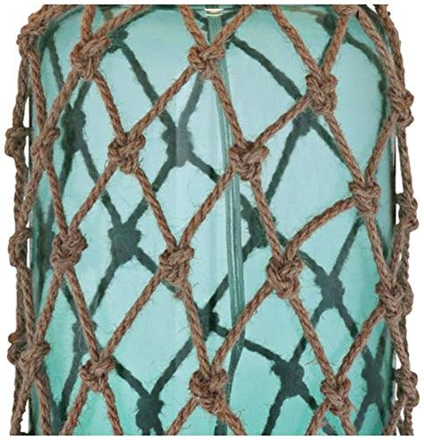 crosby nautical accent table lamp coastal blue green glass rope net  white drum shade