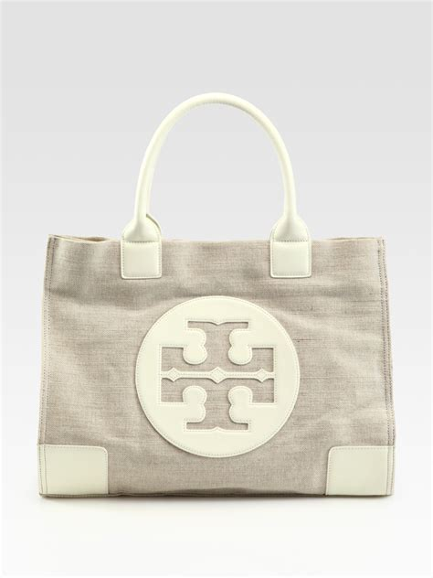 tory burch ella metallic canvas leather tote bag  beige natural lyst