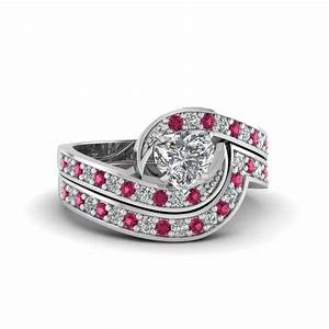 heart shaped swirl pave diamond wedding ring sets with With swirl diamond wedding ring set