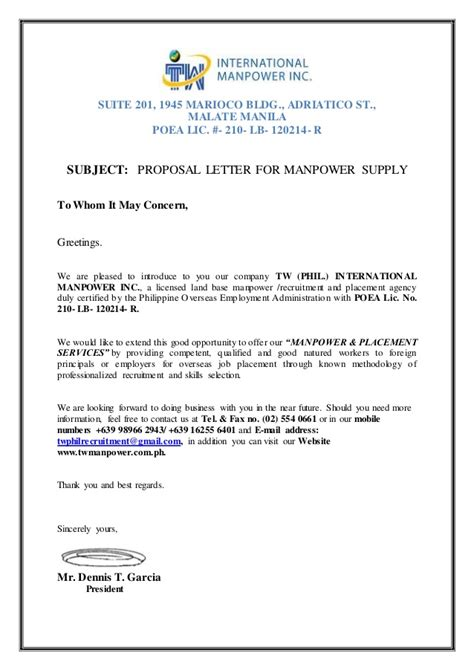 proposal letter  manpower request tw phil