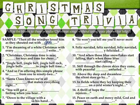 Freebie Christmas Song Trivia Youthministrycom