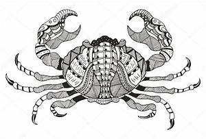 Zodiac sign - Cancer. Vector illustration. Crab. Zentangle ...