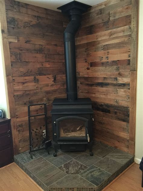 Pallet Wall Behind Wood Stove Ideas For The House