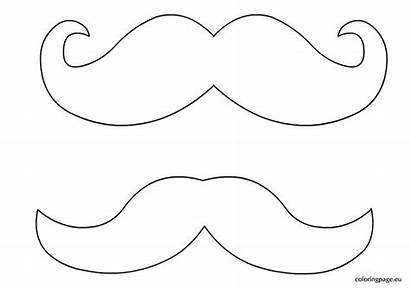 Mustache Coloring Moustache Template Beard Outline Clipart