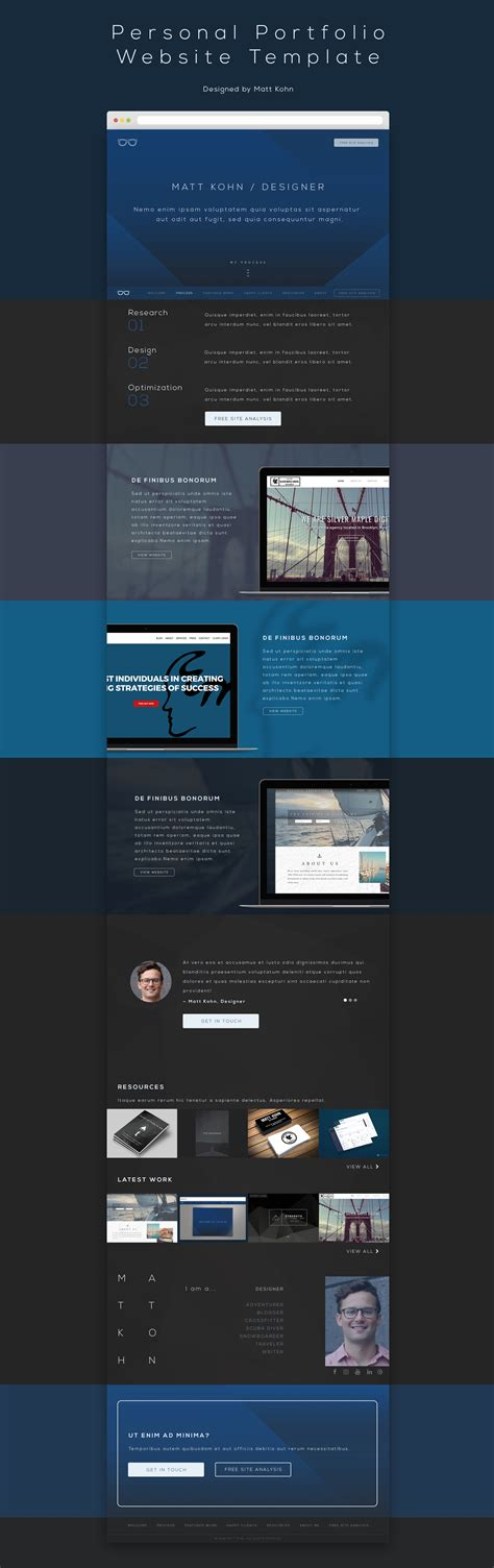 free portfolio website templates free personal portfolio website template free design resources