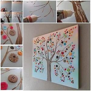 Wonderful diy vibrant button tree wall decor