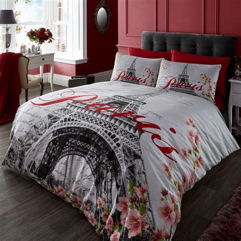 paris flower double duvet cover set eiffel tower grey