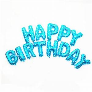 free shipping 16 inch blue 13pcs letter happy birthday With happy birthday foil balloon letters