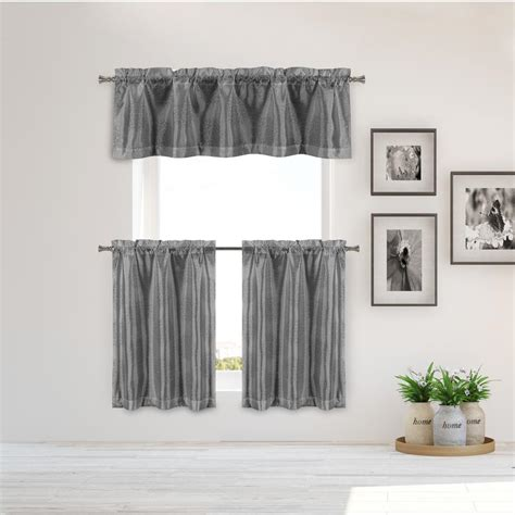 duck river ailin kitchen valance  grey silver