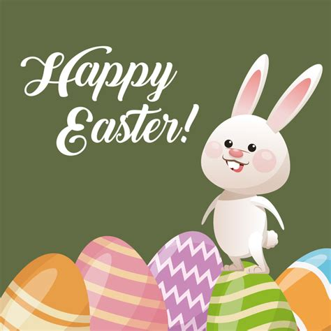 happy easter card  cartoon bunny vector  vector