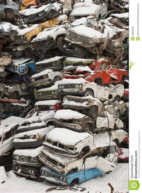 Car Dump Yard by Dump Cars In Russia In The Winter Stock Photo Image