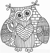 Coloring Pages Printable Girly Adult Owl Popular sketch template