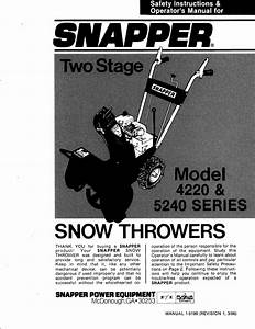 Snapper Snow Blower 4220 Series User Guide