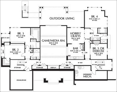 harmonious one story with basement house plans one story floor plans with basements