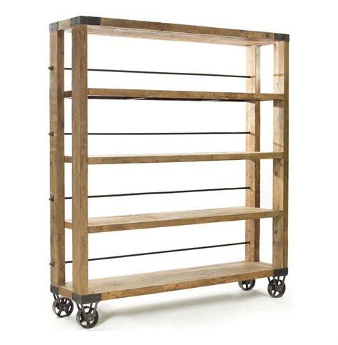 Modern Rustic Reclaimed Wood Rolling Bookcase  Kathy Kuo Home