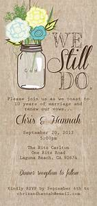 mason jar printable invitation rustic wedding invitation With wedding vow renewal ideas