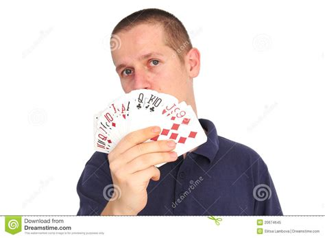 Young Man Holding Cards, Focus On Cards Royalty Free Stock