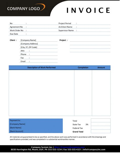 template net contractor invoice template