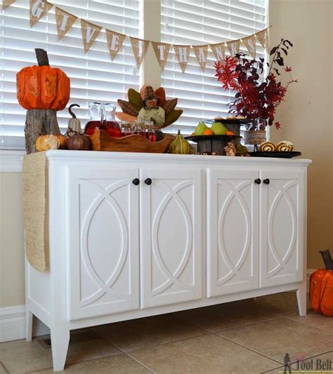 diy buffet sideboard  circle trim doors  tool belt