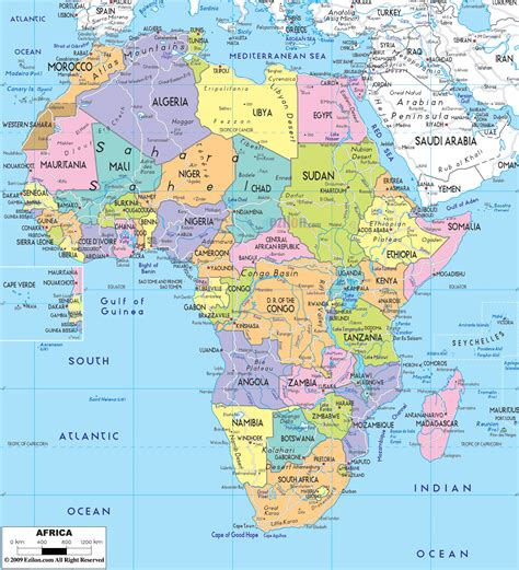 political map  africa ezilon maps