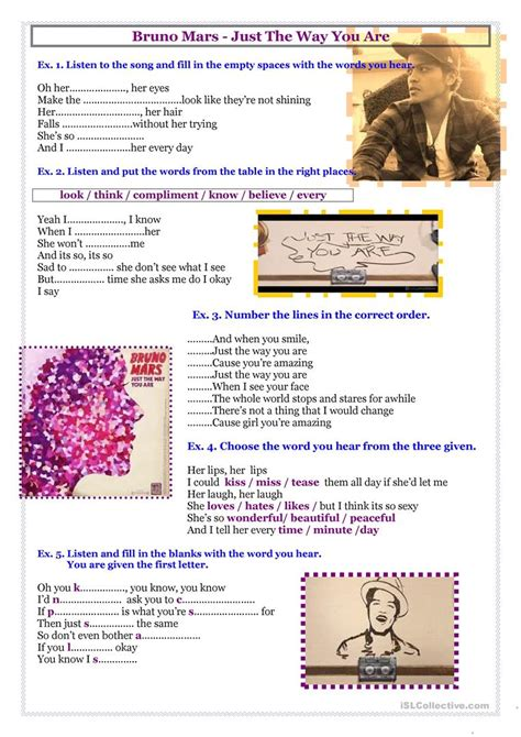 the way worksheet song bruno mars just the way you are worksheet free