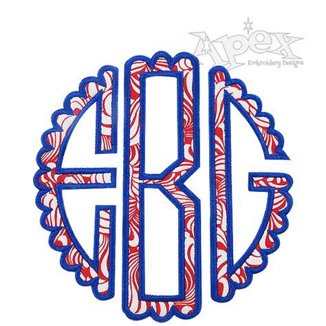scallop circle monogram applique embroidery font