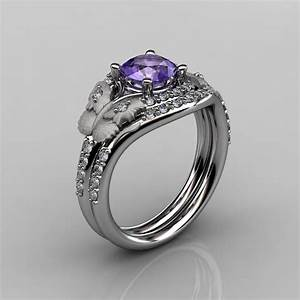 14kt white gold diamond leaf and vine amethyst wedding With vine wedding ring