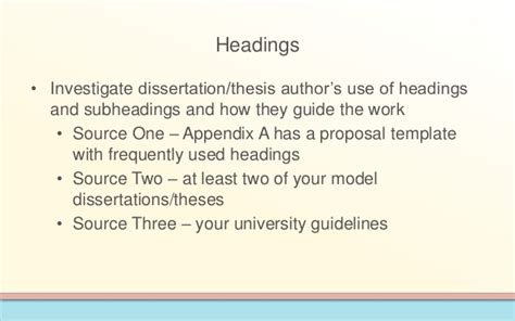 Dissertation subheadings