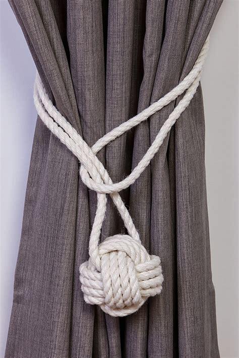 cotton rope monkey knot tie backs nautical curtain