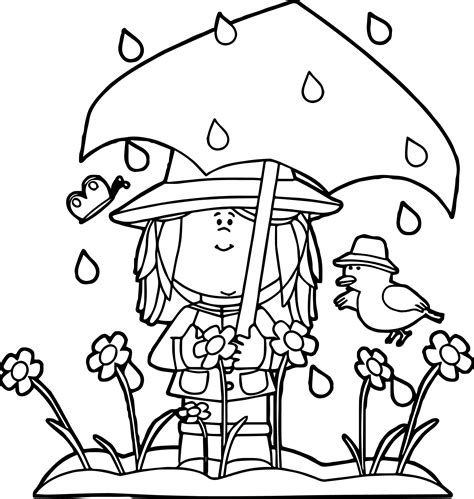 Spring Showers Coloring Page Wecoloringpagecom