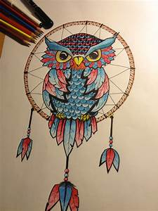 Drawn dreamcatcher owl - Pencil and in color drawn ...