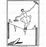 Tightrope Walker Coloring Pages Circus Clipart Rope Walking Ballerina Tight Template Alligator sketch template