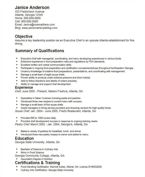 chef resume summary 28 images professional chef