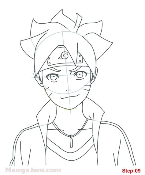 How To Draw Boruto Uzumaki From Naruto Step 09 Projects