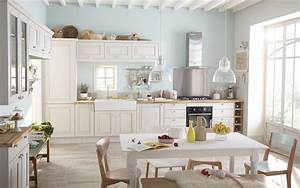 Une cuisine a langlaise diaporama photo for Kitchen colors with white cabinets with papier peint décoration murale