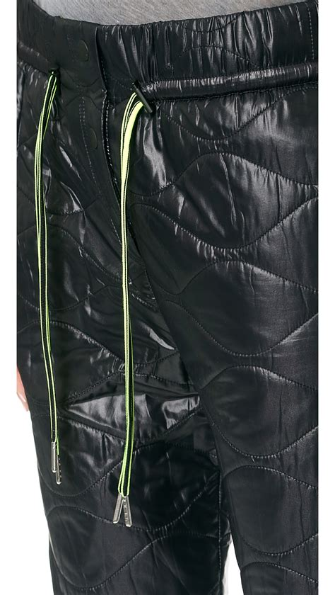alexander wang quilted nylon track pants black lyst