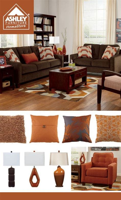 awesome chocolate brown  orange living room  red