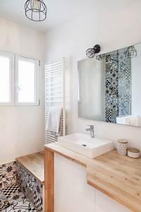 Meuble Salle De Bain Bois Et Blanc : salle de bain bois et blanc c t maison ~ Teatrodelosmanantiales.com Idées de Décoration