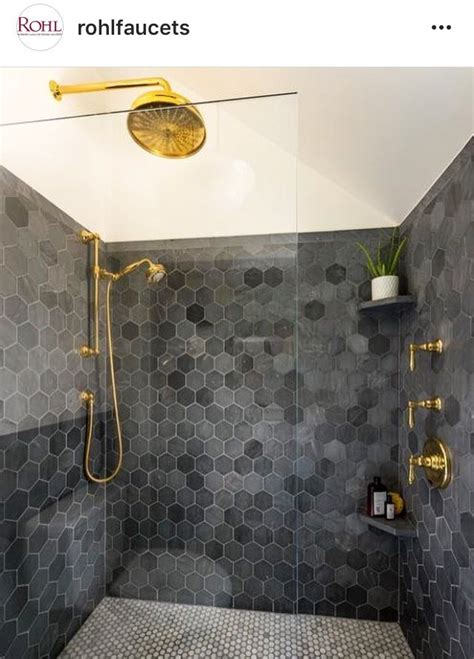 brass hardware charcoal hexagon surround shower tile