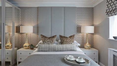 gray bedroom  david hicks hexagon wallpaper