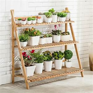 3, Tier, Folding, Bamboo, Plant, Stand, Pot, Shelf, Stand, Rack, Indoor, Outdoor, Greenhouse
