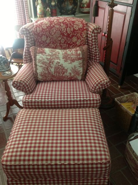 red checked chair  ottoman red  white