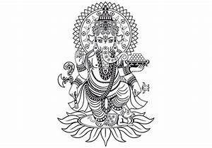 Attractive black-line detailed ganesha elephant standing ...