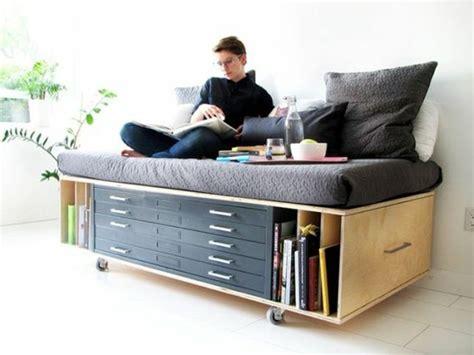 lit avec canapé lit avec rangement petit espace accueil design et mobilier