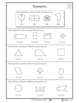 lines of symmetry shapes and symbols worksheets