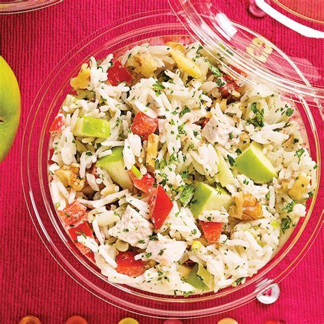 2 recettes de cuisine salade de riz au poulet pommes et noix recettes