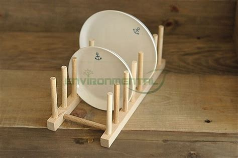 wooden kitchen plates holder stand rack diy holder dish drainer tool qty  ebay