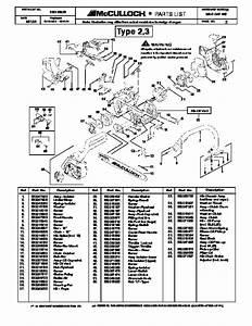 Mcculloch Mac Cat 442 Chainsaw Service Parts List