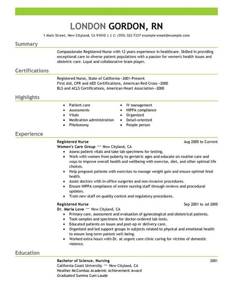 0 Experience Resume by Sle Resume For Nurses With Experience Sle Resumes