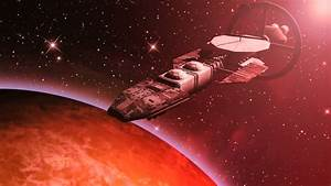 Animation Of A Futuristic Spaceship Flying Over A Red ...